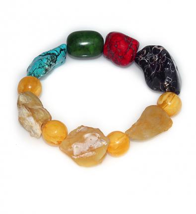 Handmade Elemental Jewelry: Bracelet – Element: Metal – Gold -Yellow