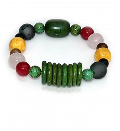 Handmade 5 Elements Jewelry: Bracelet – Element: Wood – Forest Green