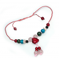 Handmade  5  Elements Jewelry:  Necklace – Fire -China Red/Pink