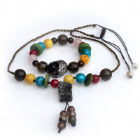Handmade 5 Elements Jewelry: Set (Bracelet and Necklace) – Earth – Chestnut Brown