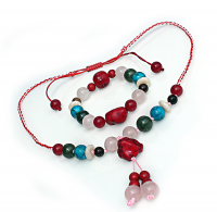 Handmade  5  Elements Jewelry:  Set (Bracelet & Necklace) - Fire - China Red/Pink