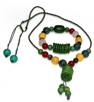 Handmade 5 Elements Jewelry: Set (Bracelet & Necklace) – Element: Wood – Forest Green